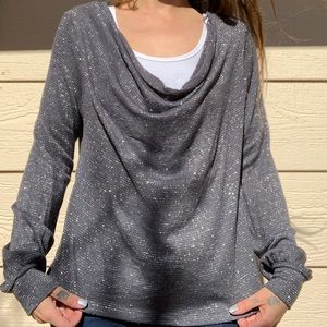 EUC Small Free People shimmer cowl neck
